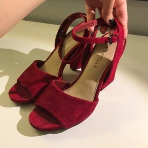 Via Spiga Spring red suede strappy heels